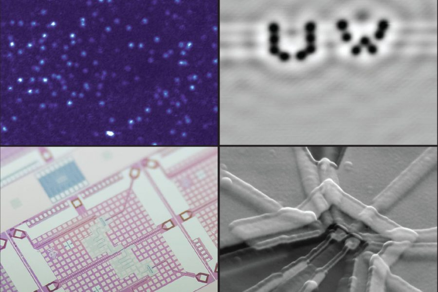four panels of images showing quantum sensors and qubits used in the lab and to develop quantum computers