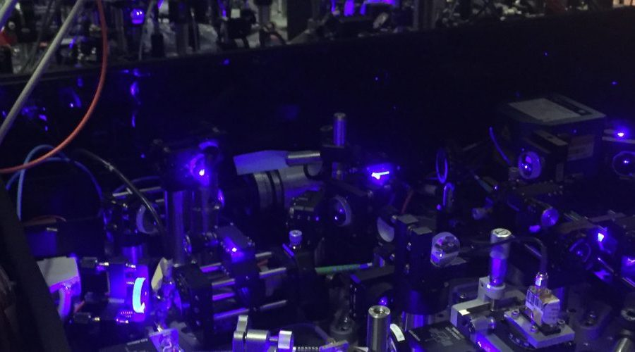 quantum detecting device with a maze of blue lasers and mirrors