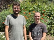 Profile photos of Megan Tabbutt on the right and Aedan Gardill on the left standing in the botany garden