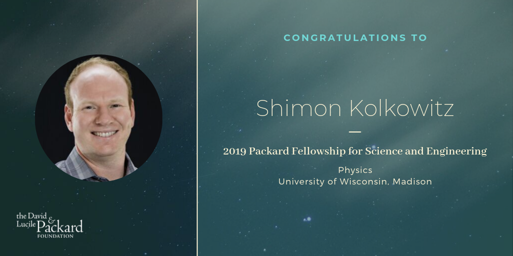 announcement slide by Packard foundation congratulating Shimon Kolkowitz on the Fellowship